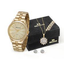 eb6269d7d17 Kit Relógio Feminino Seculus Analógico Fashion + Correntinha e ...