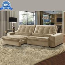 7830ee861 Sofá 4 Lugares Retrátil e Reclinável Assento Pillow 270x180 cm ...