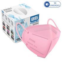 10 Máscaras KN95 Descartáveis Rosa WWDoll com Filtro Clipe para Nariz 95% de Eficiência
