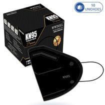 10 Máscaras KN95 Premium Descartáveis Preta WWDoll com Filtro Clipe para Nariz 95% de Eficiência