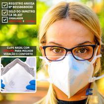 20 Máscaras pff2(n95) Hospitalar com espuma no clipe nasal - anvisa e inmetro - GVS Aero 2