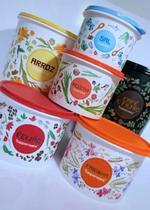 5 Peças - Conj. Mantimentos Floral - Tupperware