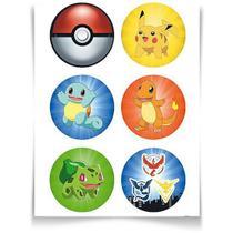 Adesivo Especial Redondo Pokémon - 12 Un