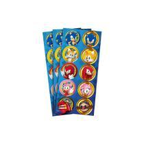 Adesivo Redondo para Lembrancinha Sonic - 30 Unidades