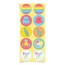 Adesivo Redondo Pop It (Fidget Toys) - 30 Un
