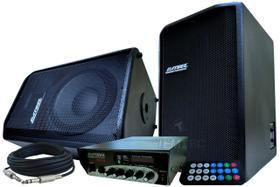 Amplificador 100w e 2 caixas de som 150w bluet. profissional