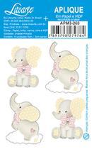 Aplique DecoupageElefante Bebê Laço APM3-260 em Papel e MDF 3cm Litoarte