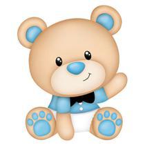 Aplique MDF e Papel Litoarte 8 cm - Modelo APM8-886 Ursinho Bebê