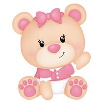 Aplique MDF e Papel Litoarte 8 cm - Modelo APM8-887 Ursinha Bebê