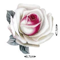 APM8-1263 - Aplique Em Papel E MDF - Rosa Branca
