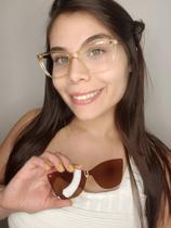 Armação Óculos Grau Feminina Gatinho Sugar Clipon 2 em1 Marrom