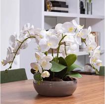 Arranjo 4 Orquídea Artificial Branca Com Vaso Bacia Fendi