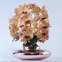 Arranjo 4 Orquídeas Artificiais Outonadas Vaso Rose Gold  Lia