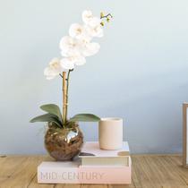 Arranjo Artificial de Orquídea Branca de Silicone no Vaso Transparente Pequeno  Formosinha
