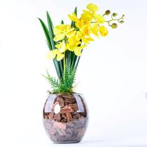 Arranjo de Orquídea Artificial Amarela Jardim Dourado