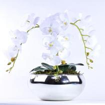 Arranjo de Orquídea Artificial Branca 3 Hastes Diamond