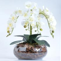 Arranjo de Orquídea Artificial Branca 4 Hastes Cascata