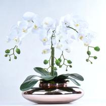 Arranjo de Orquídea Artificial Branca 4 Hastes em Terrário Rose