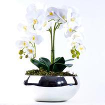 Arranjo de Orquídea Artificial Branca 4 Hastes Vibrante