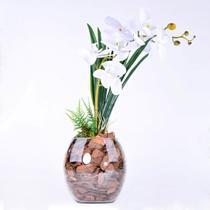 Arranjo de Orquídea Artificial Branca Brisa da Noite
