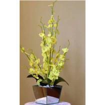 Arranjo De Orquídea Artificial Chuva De Ouro Centro de Mesa
