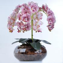 Arranjo de Orquídea Artificial com Pintas Vinho Manu