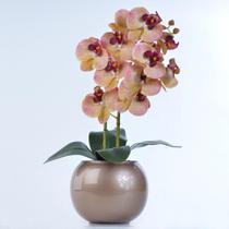 Arranjo de Orquídea Artificial em Vaso Cobre Valentina