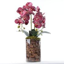 Arranjo de Orquídea Artificial Rosa em Vaso Tubo