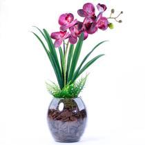 Arranjo de Orquídea Artificial Rosa Toque Real Glamour