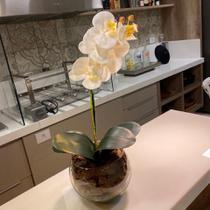 Arranjo de Orquídea Branca Artificial no Vaso Transparente Flores Permanentes