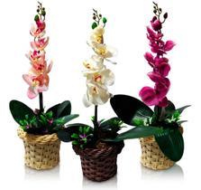 Arranjo De Orquídeas Silicone 3d Flores Artificiais 52cm  Pink