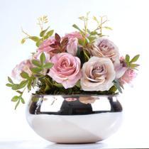 Arranjo de Rosas Artificiais em Vaso Rose Gold Carol