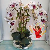 Arranjo Orquídea Branca Artificial Vaso Enfeite Mesa