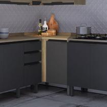 Balcão de Cozinha de Canto 95cm com Tampo Hibisco Thela Aveiro/Grafite