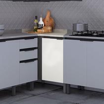 Balcão de Cozinha de Canto 95cm com Tampo Hibisco Thela Grafite/Branco