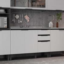 Balcão para Cozinha 2 Portas 3 Gavetas Hibisco Thela Grafite/Branco