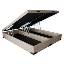 Base para Cama Box Queen Premium com Baú Suede Pena (45x158x198) Bege