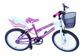 Bicicleta aro 20 fem onix cor pink com cadeirinha