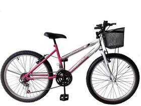 Bicicleta Aro 24 Feminina  18 Marchas Freio V-Brake