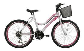 Bicicleta Aro 24 Feminina Athor Musa 18v Aro Aero C/cesta