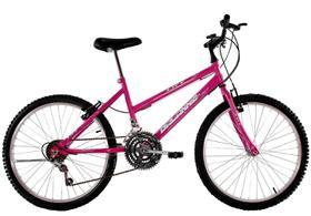 Bicicleta Aro 24 Feminina Life 18 Marchas Rosa Pink