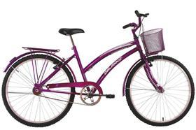 Bicicleta Aro 24 Feminina Susi Roxa Com Para-lama e Cesta