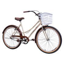 Bicicleta Aro 26 Feminina Retro Vintage Caiçara 6 Marchas com Cestinha