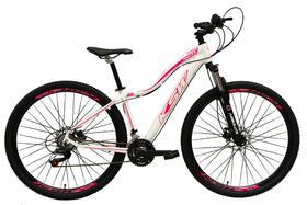 Bicicleta Aro 29 Feminina 24 Marchas Câmbios Shimano Freio Disco Hidráulico  - Branca c/ Rosa Tam 15