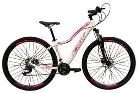 Bicicleta Aro 29 Feminina 24 Marchas Câmbios Shimano Freio Disco Hidráulico  - Branco c/ Rosa Tam 17