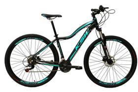 Bicicleta Aro 29 Feminina 24 Marchas Câmbios Shimano Freio Disco Hidráulico Garfo com Suspensão - Preto/Azul Tam.17
