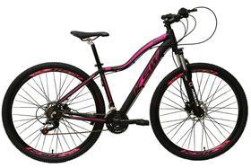 Bicicleta Aro 29 Feminina 24 Marchas Câmbios Shimano Freio Disco Hidráulico  - Preta com Rosa Tam 17