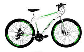 Bicicleta Aro 29 Freio a Disco 21M. Velox Branca/Verde - Ello Bike