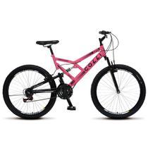 Bicicleta Bike Aro 26 Dupla Suspensão Freio Vbreak 21 marchas Masculina Feminina - Rosa Neon