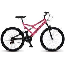 Bicicleta Colli Bike GPS 148 Aro 26 Dupla Suspensão 21 Marchas Freio V-Brake- Rosa